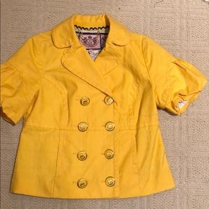 Juicy Couture yellow cropped pleated blazer